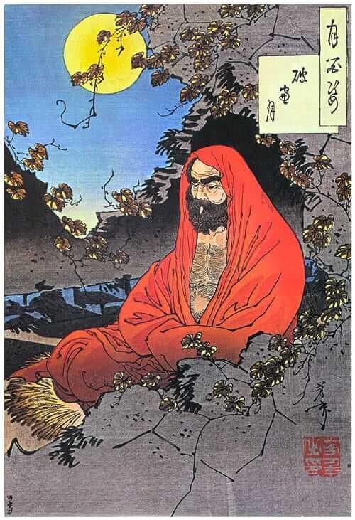Bodhidharma: the First Ancestor of Zen, wood block painting by Tsukioka Yoshitoshi - Arawaza: High Quality Martial Arts Supplies and Karate Equipment